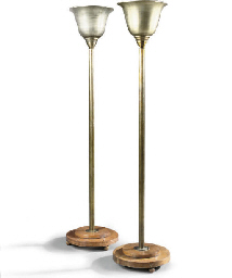 A PAIR OF ART-DECO SILVERED BR