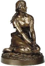 A FRENCH BRONZE FIGURE OF JOAN