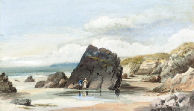 Figures on the foreshore, low