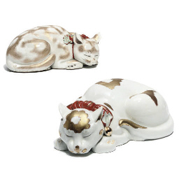 Two Japanese Porcelain Cats