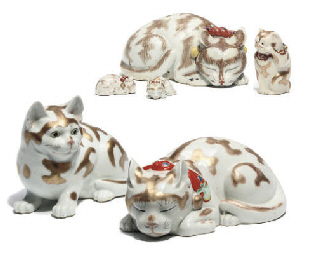 A Group of six models of cats