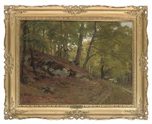 Drovers on a woodland path
