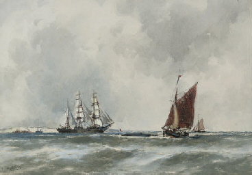 A barquentine in the Channel