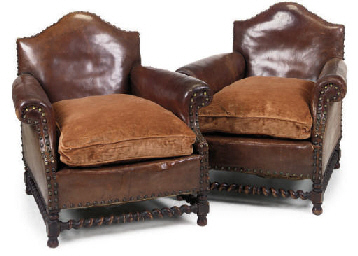 A PAIR OF EDWARDIAN LEATHER UP