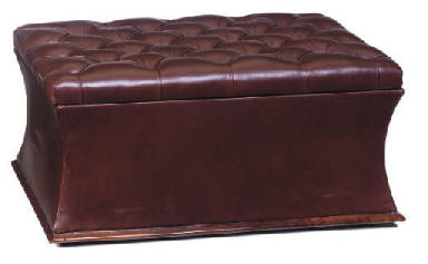 A FRENCH LEATHER UPHOLSTERED O