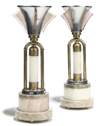 A PAIR OF ART DECO CHROME AND
