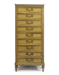 A FRENCH BEECHWOOD NINE DRAWER