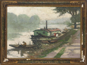 Barges at the river bank