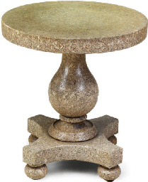 A PINK GRANITE CENTRE TABLE