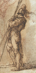 A warrior standing, holding tw