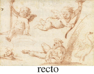 Two putti with trumpets, a riv