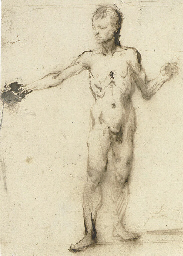 A standing nude gesturing to t