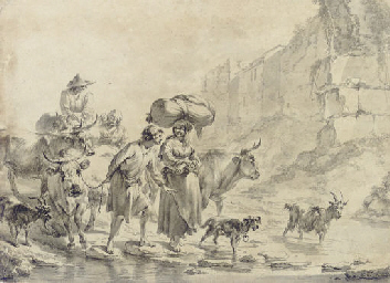 Peasants and animals fording a