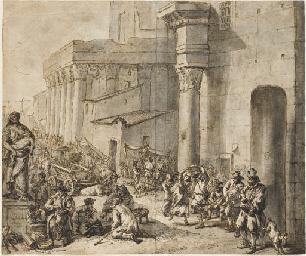 A street market behind a churc