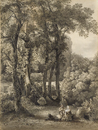 A seated couple and their dog