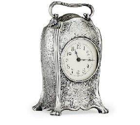 A SILVER CARRIAGE CLOCK