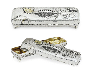 A PARCEL-GILT SILVER PEN BOX