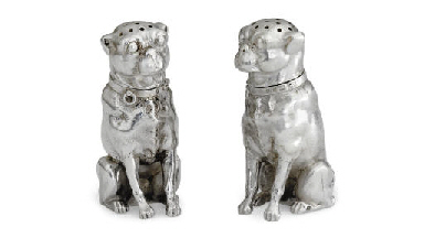 A PAIR OF SILVER ANIMAL-FORM C