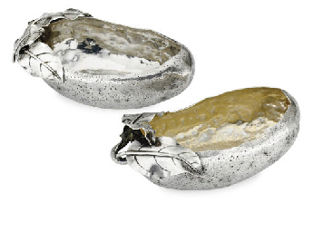 TWO SILVER OLIVE DISHES