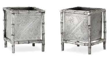 A PAIR OF SILVER-PLATED SQUARE POTS