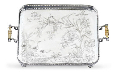 A SILVER-PLATED TRAY**