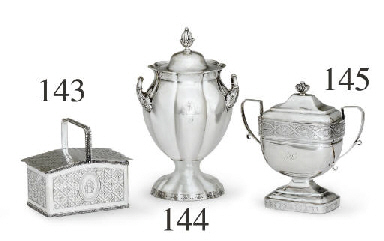 A SILVER TWO-HANDLED COVERED V