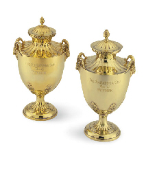 A MATCHED PAIR OF SILVER-GILT