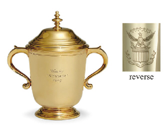 A GOLD TROPHY CUP AND COVER: W