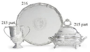 A SILVER TWO-HANDLED TROPHY CU