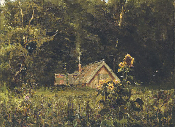 Dacha in a forest clearing