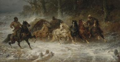Wallachian horsemen in a winte