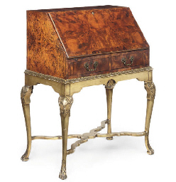 A BURR YEW WOOD BUREAU ON INTE