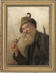 Portrait of a hunter, smoking