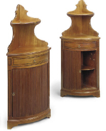 A PAIR OF MAHOGANY CORNER CABI