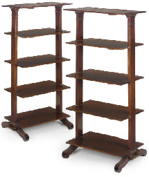 A PAIR OF MAHOGANY FIVE TIER E