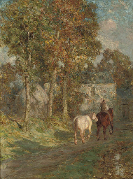 A figure with two horses on a