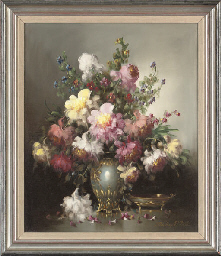 Assorted camelias in a vase