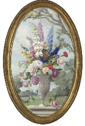 Summer flowers in a stone urn,