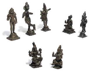 A Group of seven Indian bronze