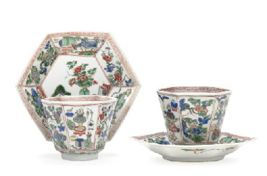 A PAIR OF FAMILLE VERTE TEABOW