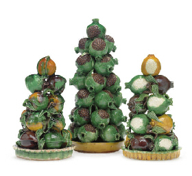 A GROUP OF THREE FRUIT PYRAMID