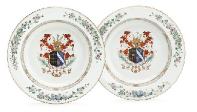 A LARGE PAIR OF ARMORIAL BASINS