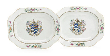 A PAIR OF ARMORIAL TUREEN STAN
