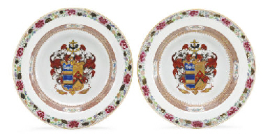 A PAIR OF ARMORIAL SOUP PLATES