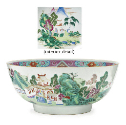 A LARGE FAMILLE ROSE PUNCHBOWL