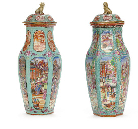 A LARGE PAIR OF TURQUOISE GROU