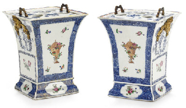 A PAIR OF COBALT BLUE AND FAMI