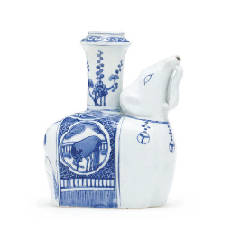 A LATE MING BLUE AND WHITE ELE