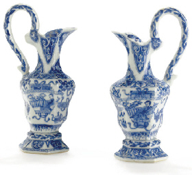 A SMALL PAIR OF BLUE AND WHITE