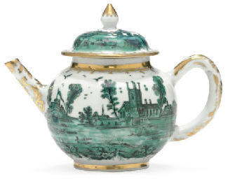 A LONDON-DECORATED TEAPOT AND